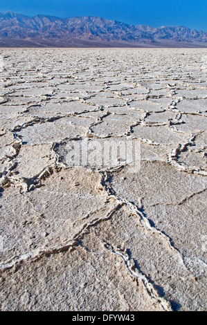 Badwater salt flats patterns in Death Valley - Stock Photo