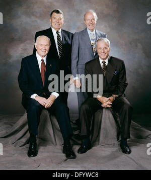 Studio portrait of the four remaining Mercury 7 astronauts at the reception following Alan Shepard's memorial service - Stock Photo