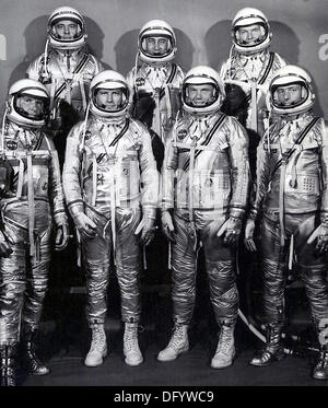 The group portrait of the original seven astronauts for the Mercury Project  April 27, 1959 in Houston, TX. Left - Stock Photo