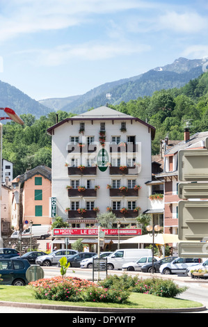 France, Ariege, Pyrenees - Ax-les-Thermes spa town and ski resort. Hotel le Breilh. - Stock Photo