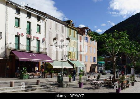 France, Ariege, Pyrenees - Ax-les-Thermes spa town and ski resort. - Stock Photo