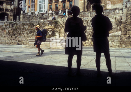 Pilgrim in Plaza de Santa María. Burgos. Spain. Camino de Santiago - Stock Photo
