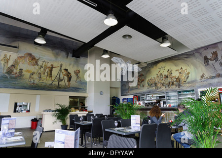 France, Ariege - Parc Prehistorique, Tarascon-sur-Ariege, near Foix. The café. - Stock Photo