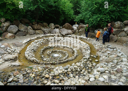 France, Ariege - Parc Prehistorique, Tarascon-sur-Ariege, near Foix. Spiral water feature. - Stock Photo