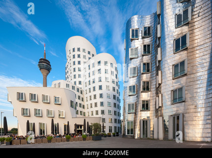 Dusseldorf Düsseldorf Duesseldorf Neuer Zollhof buildings by Frank O. Gehry at the Medienhafen MediaHarbor Media - Stock Photo