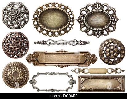 Vintage metal medallion frames, isolated Stock Photo: 76023529 - Alamy