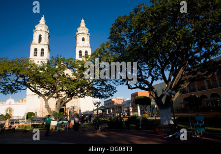 Mexico, Campeche State, Campeche City, historical center listed as World Heritage by UNESCO, the Zocalo and the - Stock Photo