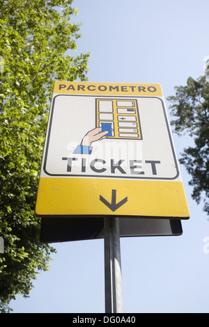 Parcometro sign, Rome, Italy - Stock Photo