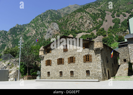 Andorra - capital city Andorra la Vella. Old administrative buildings. - Stock Photo