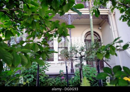 terraced houses in Brunswick Street, Fitzroy, Melbourne, Australia - Stock Photo