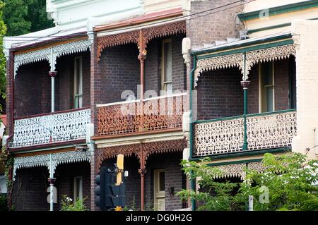 Period housing, Nicholson Street, Fitzroy - Stock Photo