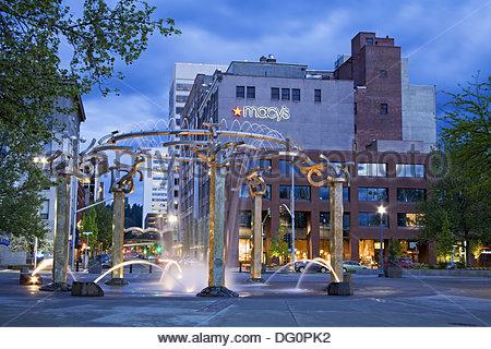 Riverfront Park Fountain, Spokane, Washington State, USA - Stock Photo