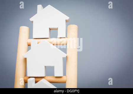 Concept Image To Illustrate Property Ladder - Stock Photo