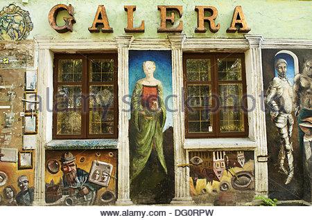 Art gallery in Uzupis district, Vilnius, Lithuania - Stock Photo