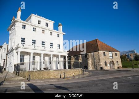 Royal Yacht Club and The former medieval Wool House. Southampton Maritime Museum. Corner of Bugle Street and Town - Stock Photo