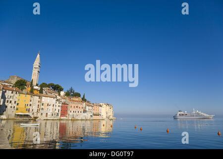 Rovinj old town with Saint Euphemia´s basilica, seen from Valdibora, Rovinj, Istria, Croatia - Stock Photo