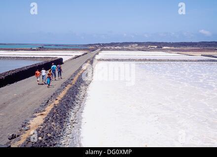 People visiting Janubio Saltworks. Lanzarote island, Canary Islands, Spain. - Stock Photo