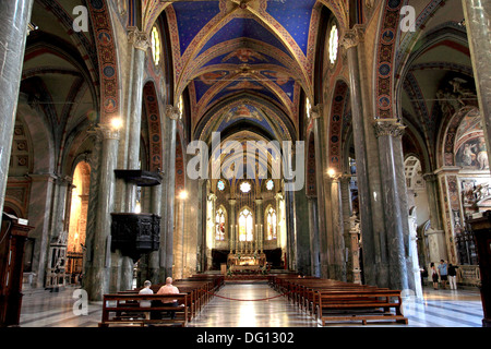 Interior of Basilica di Santa Maria sopra Minerva in Rome - Stock Photo