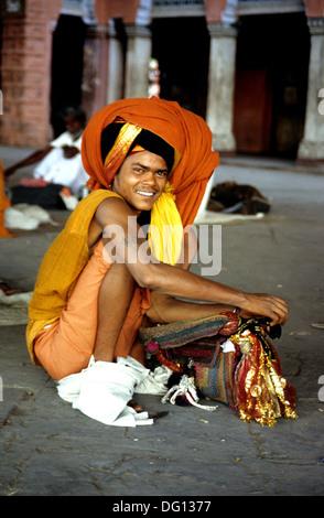A smiling Hindu Sadhu. - Stock Photo