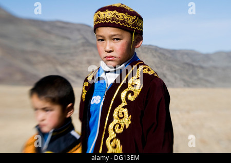 Kazakh children from western Mongolia. ( special blurry effect ) - Stock Photo