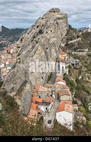 Pietrapertosa, a hill village in the Dolomiti Lucane, Basilicata, Italy - Stock Photo