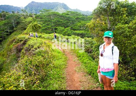 The Kuilau and Moalepe trail begin near Wailua´s Keahua Arboretum and travels up to views of Mt. Waialeale and the - Stock Photo