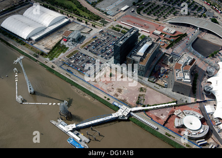Greenwich Point and the Emirates Airline Cable Car as seen from the air. - Stock Photo