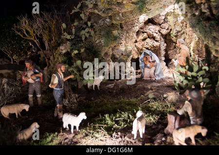Nativity scene at Notre-Dame de Paris - France - Stock Photo