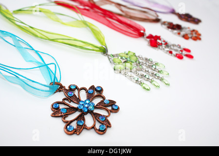 Colorful gem stones jewelry necklaces - Stock Photo