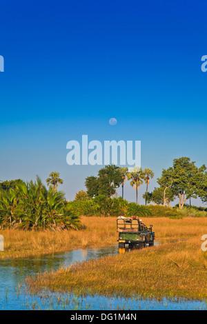 Safari vehicle driving through the Okavango Delta, Botswana, Africa - Stock Photo
