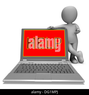 Help On Laptop Showing Helping Customer Service Helpdesk Or Support - Stock Photo