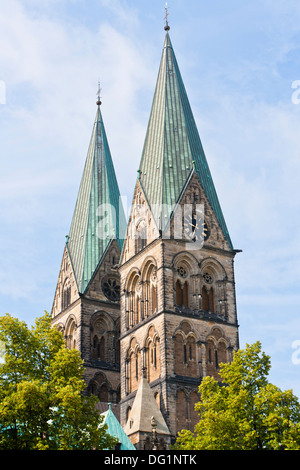 The towers of St. Petri Cathedral in Bremen, Germany, Europe - Stock Photo