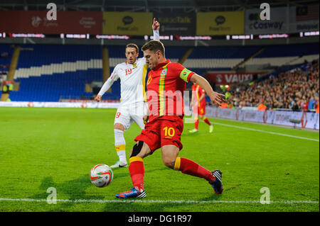 Cardiff, Wales. 11th Oct, 2013. Aaron Ramsey of Wales (Arsenal) in action during the first half of the FIFA 2014 - Stock Photo