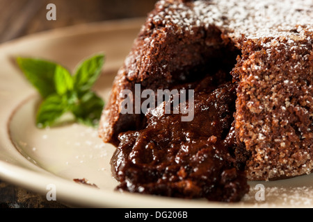 Homemade Chocolate Lava Cake Dessert with Mint - Stock Photo