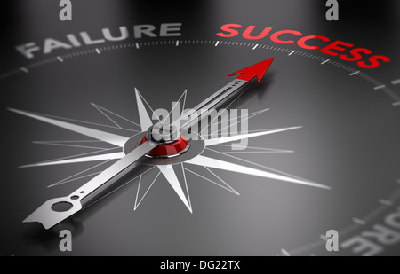 Conceptual 3D render image with depth of field blur effect. Compass with the needle pointing the word success.