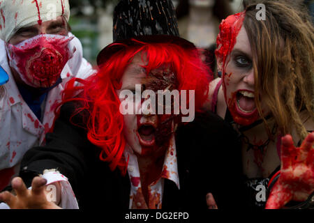 London, UK. 12th Oct, 2013. London, UK. 12th Oct, 2013. Participants dressed as Zombies march through central London - Stock Photo