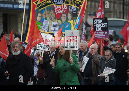 Liverpool, England, UK. Saturday 12th October 2013. March through the city centre. Around 7000 people marched through - Stock Photo