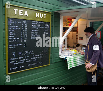 Levisham. North Yorkshire, UK.  11th October, 2013.Mr Mike Thompson, from Doncaster a french man at the Tea Bar - Stock Photo