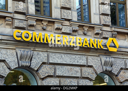 Commerzbank bank and logo in Frankfurt am Main, Germany - Stock Photo