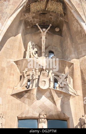 Architectural details at Sagrada Familia, most famous (and uncompleted) church in Barcelona, Spain. - Stock Photo