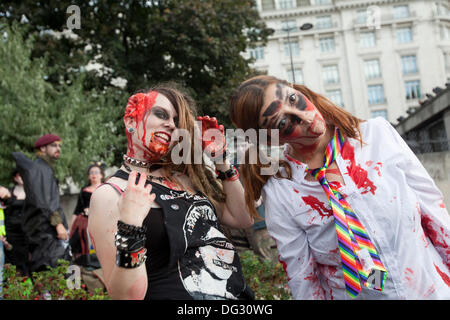 London, UK. 12th Oct 2013. London attracts thousands of zombies each year to groan and shamble through Central London - Stock Photo