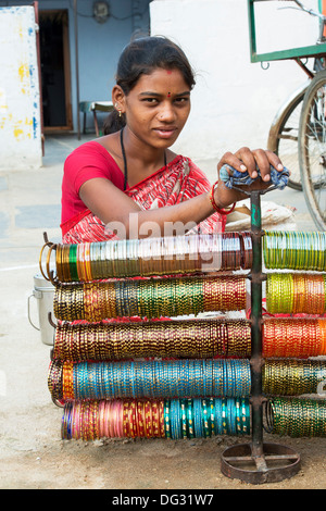 Indian woman selling bangles on the street. Andhra Pradesh ...