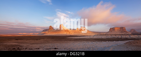 The Thumb Formation on Plateau Ustyurt in Kazakhstan at sunrise. - Stock Photo