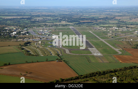 aerial view of Upper Heyford USAF in Oxfordshire, airfield airport - Stock Photo