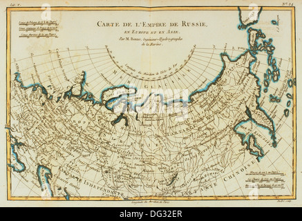 The Russian Empire on a 18th century map - Stock Photo