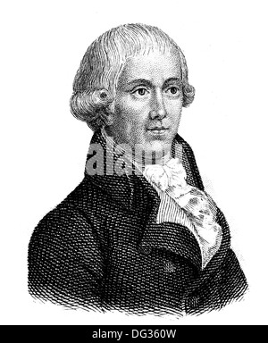 Gottfried August Buerger, 1747 - 1794, a German poet of the Enlightenment, author of The Adventures of Baron Munchausen, - Stock Photo