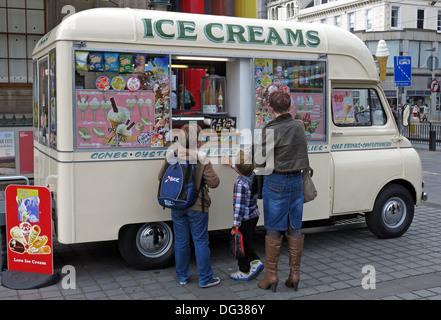 Tasttee Maid Classic creme coloured ice cream van from the 1960s in Edinburgh city centre Scotland UK 2013 - Stock Photo