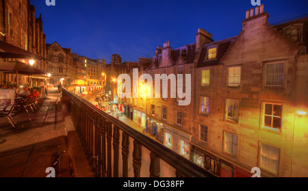 Victoria Street Edinburgh City Scotland UK at dusk Night Shot - Stock Photo