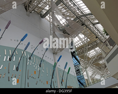 Roof and arty lighting inside St Enoch Shopping retail shopping centre Glasgow - Stock Photo