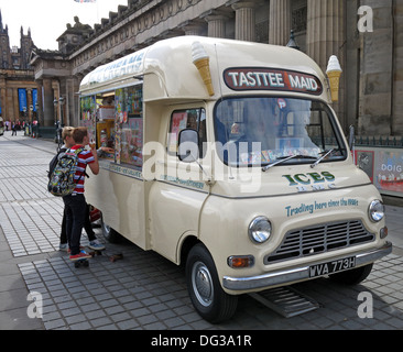 Classic creme coloured Tasttee Maid ice cream van from the 1960s in Edinburgh city centre Scotland UK 2013 - Stock Photo